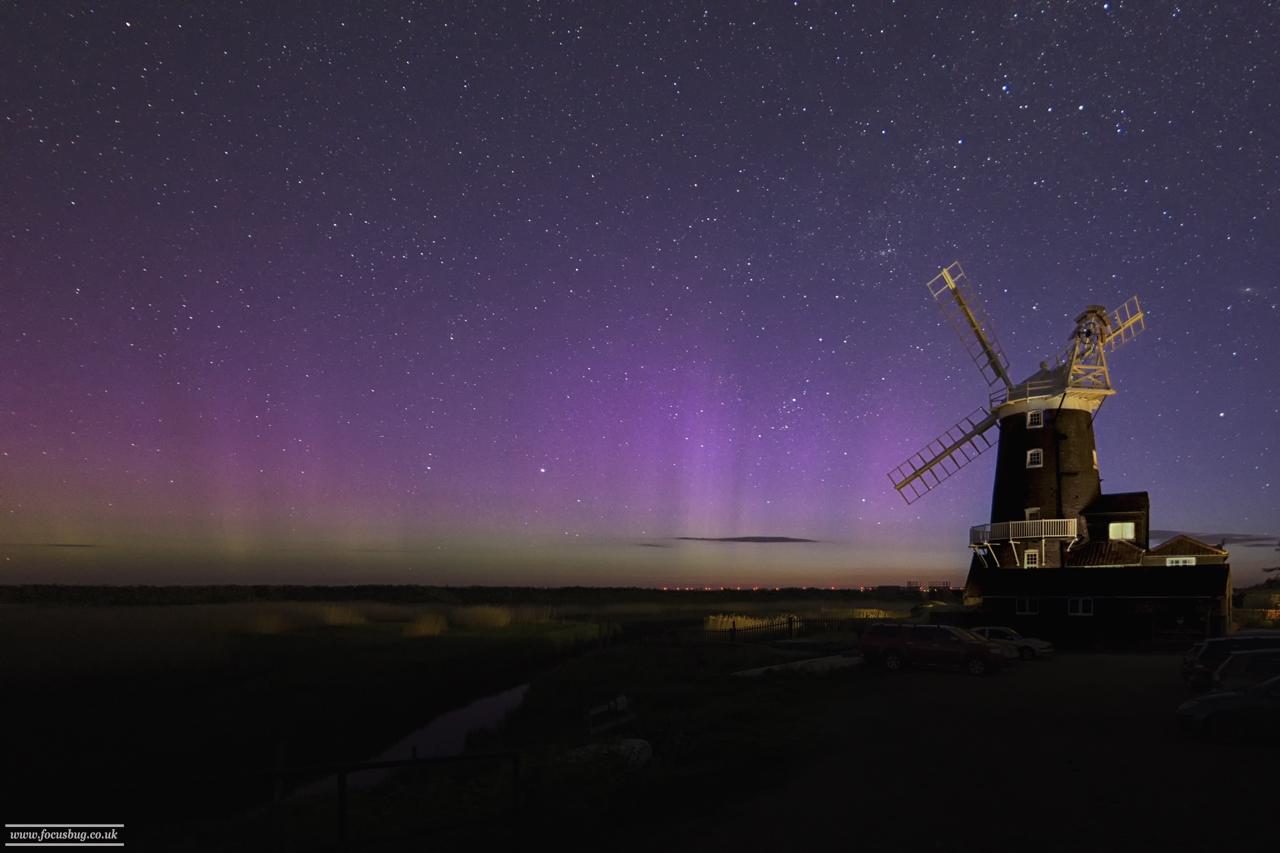 Norfolk Landscape Photography - Aurora, Cley Windmill